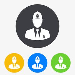 Icono plano silueta policia britanico en circulo varios colores
