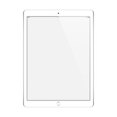 tablet white color with blank touch screen isolated on white background. stock vector illustration eps10