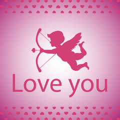 Valentines day background with cupid