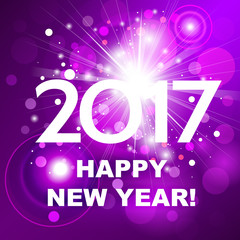 Beautiful pink fireworks with  greetings  Happy New Year 2017!