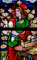 Wall Mural - Stained Glass - Jesus Christ as a carpenter