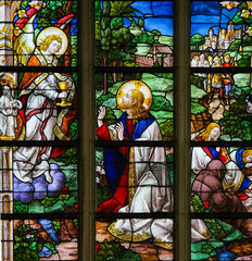 Fototapete - Stained Glass - Jesus in the Garden of Gethsemane