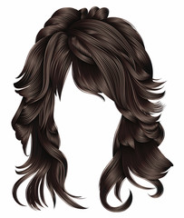 trendy woman long hairs brunette dark brown  colors .