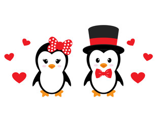 cute penguin set with heart vector