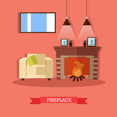 Vector illustration of fireplace, home interior design element, flat style