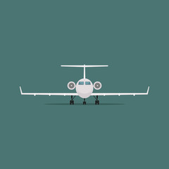 Vector image of a passenger plane in flat style. Front view.