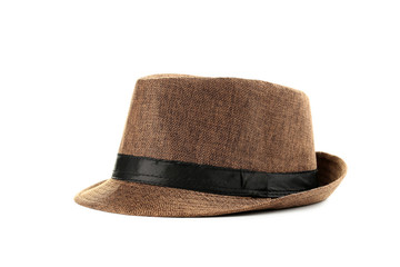 Pretty brown hat isolated on a white