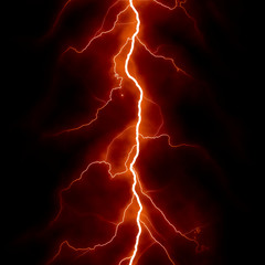 Fairly constrained forked lightning, digital illustration art work.