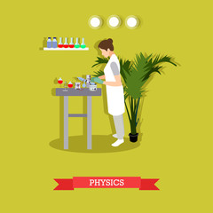 Vector illustration of woman carrying out experiment in physical laboratory