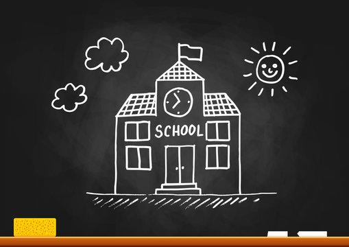 School drawing on blackboard