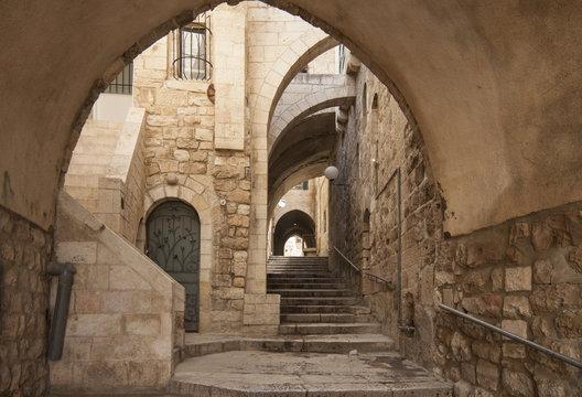 Israel - Jerusalem - Old city hidden passageway, stone stairway and arch