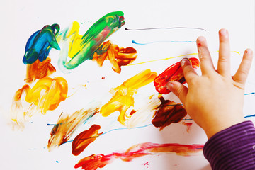 little baby girl draws a picture paints (postmodernism, talent,