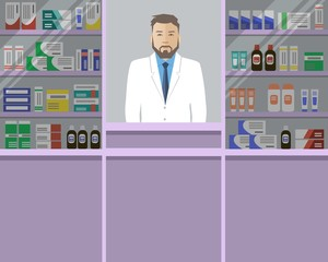 Web banner of a pharmacist. Young man in the workplace in a pharmacy: standing in front of violet shelves with medicines. Vector flat illustration