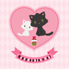 Valentine's Day greeting card. Black and white kittens in love.