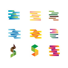 set of vector logo mix color vector abstract design square