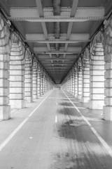 Bercy bridge, Paris, under the bridge, black and white perspective