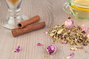 tea, herbs and cinnamon bark