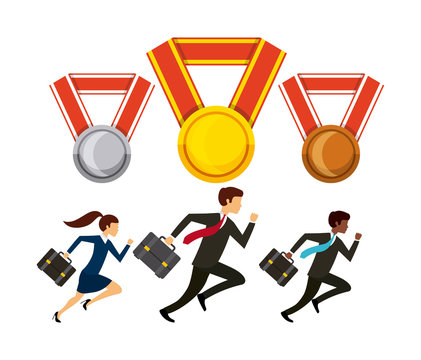business men and woman running icon and medals over white background. competitive business concept. colorful design. vector illustration