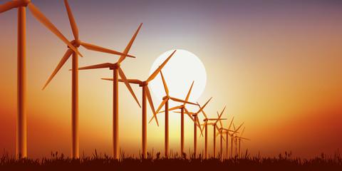 éoliennes - énergie renouvelable - environnement - Coucher de soleil