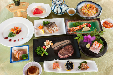 A table full of Japanese cuisine
