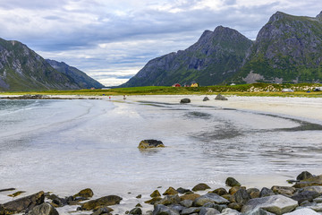 View of Skagsanden Beach, Norway. Skagsanden is one of Lofoten?s most photographed beaches, especially as a location for northern lights in winter