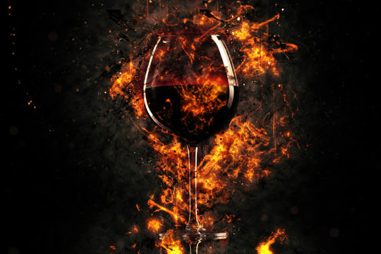 Red wine glass in fire
