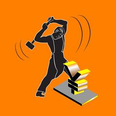 Blacksmith hammer beating on the yen symbol.