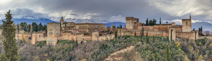Panoramic view of the Alhambra, seen from the viewpoint of San N