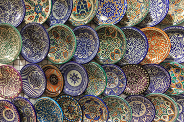 Ceramic dishes with Arabic decoration.