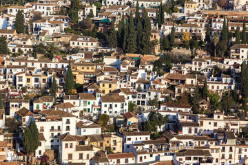 Albaicin neighborhood in Granada, view from the Alhambra.