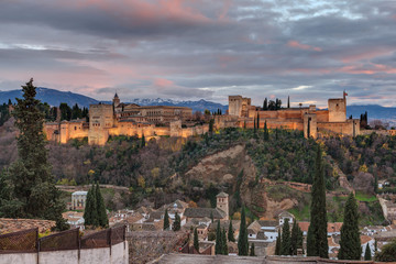 The Alhambra of Granada from the viewpoint of San Nicolás.