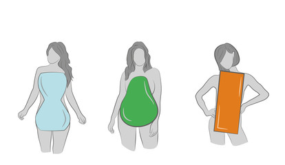 A set of female body types form - Apple / rounded, hourglass, rectangle, triangle / pear. vector illustration