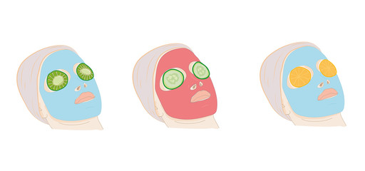 mask on the face of the natural ingredients. vector illustration