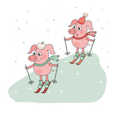 Two Cute Pigs Skier