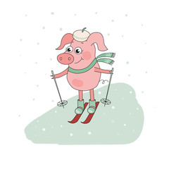 Cute Pig Skier. Lovely cartoon Character