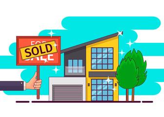 Real estate. Hand holding sold sign. Vector illustration.
