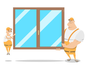 Two workers in a special form of holding the window on a white isolated background. Installation and replacement of windows. Vector illustration