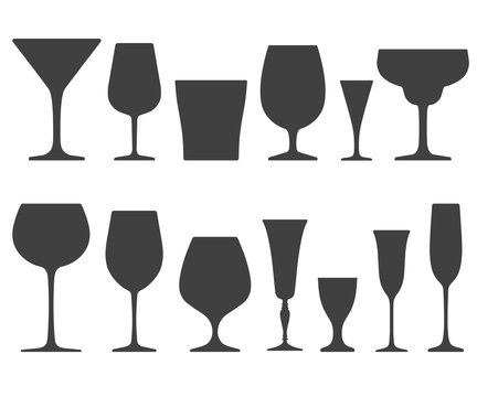 Set of wineglass and glass icons isolated on white background