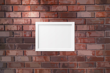Picture frame on a brick wall background