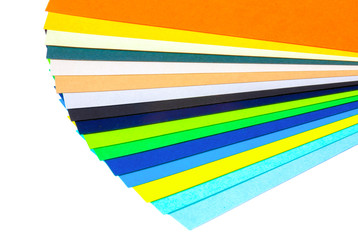 Isolated set of samples colored paper swatchbook on a white background