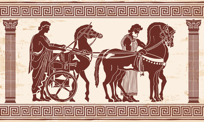 Greek style drawing Pano with national ornament. Warrior in tunic equips horses.