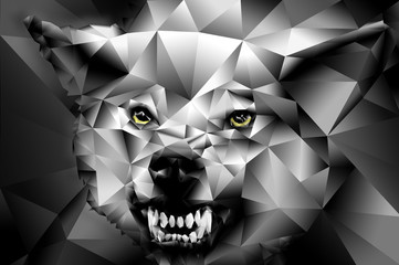 Wolf polygonal head illustration.