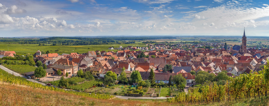 Panoramic view of  Dambach la Ville, Alsace, France