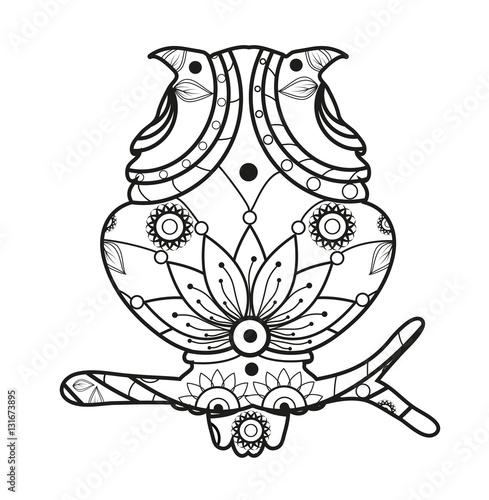 Vector illustration of a mandala owl for coloring book, civetta ...