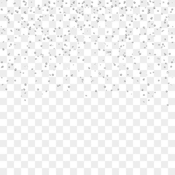 Silver confetti celebration, isolated on transparent background. Falling abstract decoration for party, birthday celebrate, anniversary or Christmas, New Year. Festival decor. Vector illustration