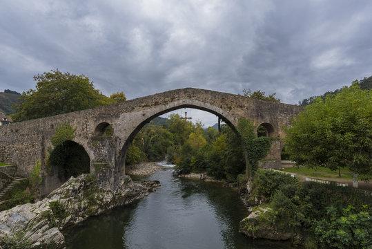 Roman bridge in Cangas de Onis (Asturias, Spain).