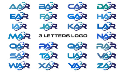 3 letters modern generic swoosh logo AAR, BAR, CAR, DAR, EAR, FAR, GAR, HAR, IAR, JAR, KAR, LAR, MAR, NAR, OAR, PAR, QAR, RAR, SAR, TAR, UAR, VAR, WAR, XAR, YAR, ZAR