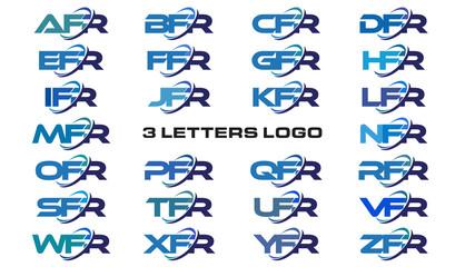 3 letters modern generic swoosh logo AFR, BFR, CFR, DFR, EFR, FFR, GFR, HFR, IFR, JFR, KFR, LFR, MFR, NFR, OFR, PFR, QFR, RFR, SFR, TFR, UFR, VFR, WFR, XFR, YFR, ZFR