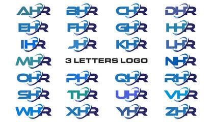 3 letters modern generic swoosh logo AHR, BHR, CHR, DHR, EHR, FHR, GHR, HHR, IHR, JHR, KHR, LHR, MHR, NHR, OHR, PHR, QHR, RHR, SHR, THR, UHR, VHR, WHR, XHR, YHR, ZHR