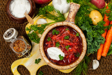 Cabbage Beetroot Soup. Traditional Russian and Ukrainian national food - Borscht. Selective focus.